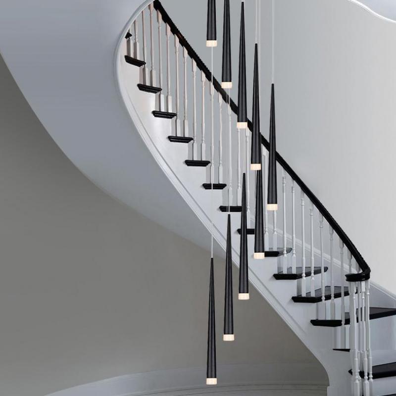 Antique Black Led Pendant Light Spiral Led Strip Aluminum Tube Pendant Light Home Led Bar Luminaria 1-5M Hotel Stair Lighting