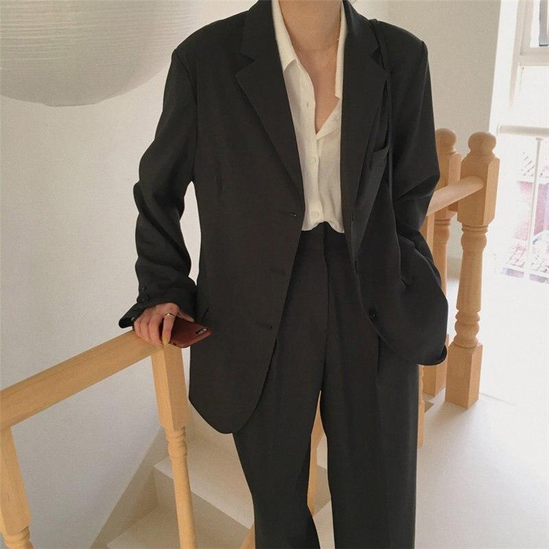 HziriP Stylish Feminine Black High Street Office Ladies Single Breasted Women Vintage Elegant All Match Autumn Loose Suit Blazer