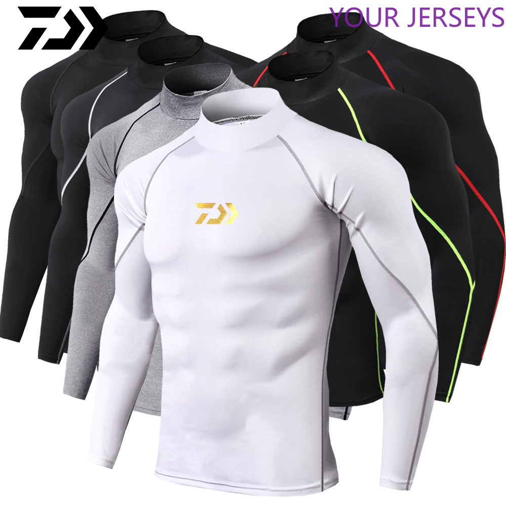 DAIWA New Men's Sports Long-sleeved T-shirt Tight-fitting T-shirt Top Jogging Compression Quick-drying T-shirt Fishing Clothes