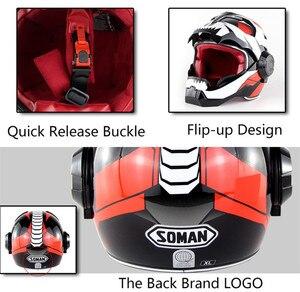 Image 5 - SOMAN Iron Man Helmet Flip Up Motorcycle Helmet Robot Style Motor Bike Casco Monster Casque DOT Approval SM515 Cool Helmets 515