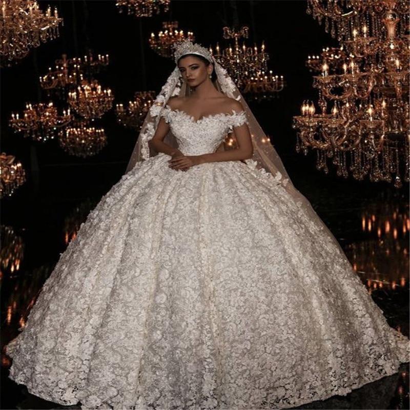 Luxury Dubai Arabic Ball Gown Wedding Dresses With Long Train Robe De Mariee Romantic Cap Sleeve Puffy Wedding Gowns Wedding Dresses Aliexpress