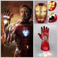 Halloween Party Anime 1:1 Avengers Endgame Iron Man Cosplay Props Helmet Full Face LED PVC Masks Thanos Infinity Gauntlet Gloves