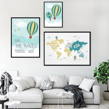 Hot Air Balloon Posters And Prints Watercolor World Map Wall Art Canvas Painting Nordic Poster Pictures For Kids Room Decor