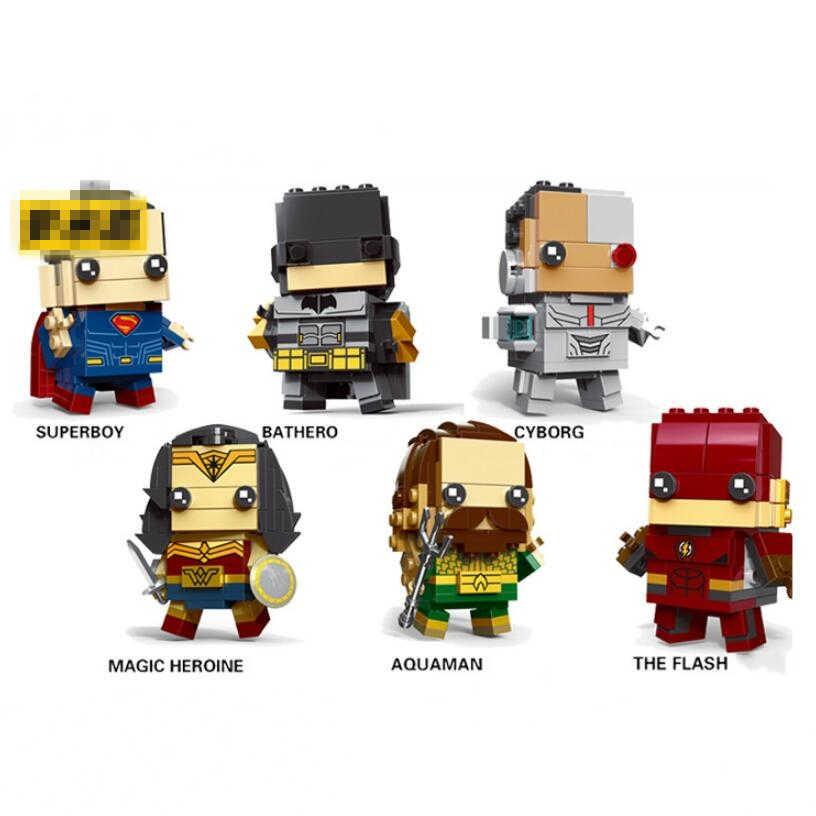 New Brickheadz Figures Legoinglys Super Hero DC Justice League Brick Heads Iron Man Spider Man Building Blocks Kids Toys
