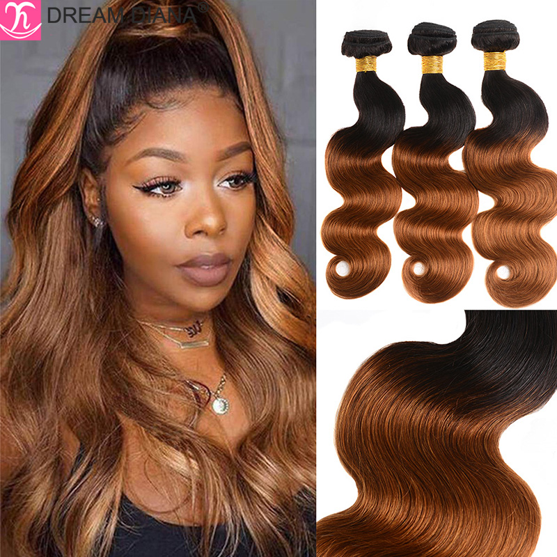 DreamDiana Ombre Malaysian Hair Weave Bundles Two Toned Hair Bundles Ombre Body Wave Hair 27 30 99J 4/30 Colored Remy Human Hair