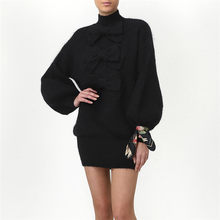 2019 Women Turtleneck Elegant Black Sweater Dress Autumn Winter Warm Knitted Pullover Female Long Sleeve Bow Tie Autumn Dress(China)