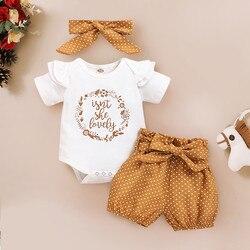 3-18months для маленьких девочек; Комбинезон для маленьких девочек с оборками одежда с принтом буквы комбинезон с поясом в горошек, штаны, повязк...