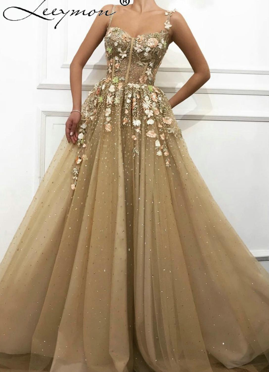 Thin Straps Sleeveless Crystal Flowers Evening Dresses 2019 Sexy A-Line Tulle Gowns Long Dress