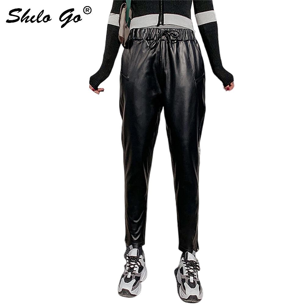 Genuine Leather Pants Black Minimalist Drawstring Waist Sheepskin Harem Pants Women Autumn Winter Highstreet Casual Trousers