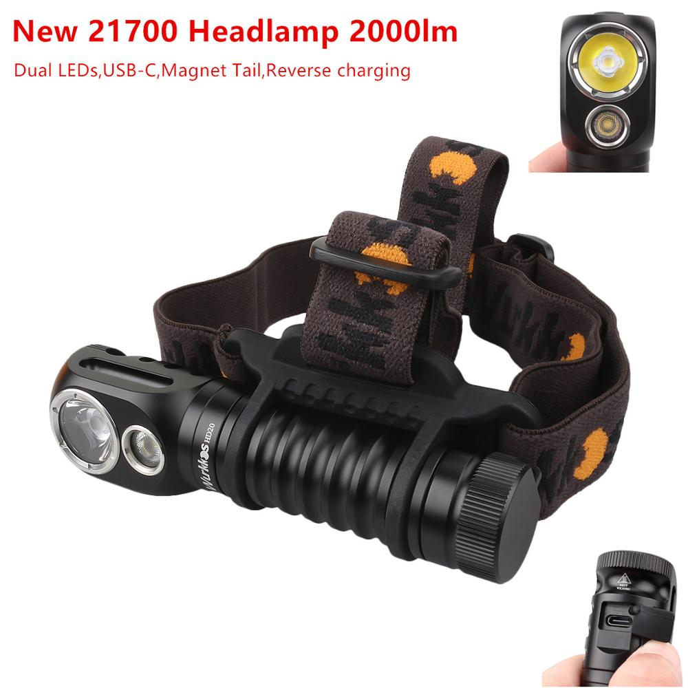Wurkkos HD20 Rechargeable Headlamp 21700 Flashlight 2000lm Dual LED LH351D and XPL with USB-C reverse charge Magnetic Tail