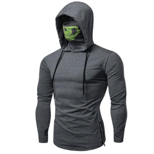 Men's Drawstring Zipper Skull Mask Hoodie Sweatshirt Hooded Tops Streetwear New Fashion Plus Size 8
