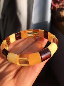 Image 3 - Natural Red Amber Yellow Piebald Amber Bracelet 14x13mm Mixed Bead Women Healing Rectangle Beads Bangle Certificate AAAAA