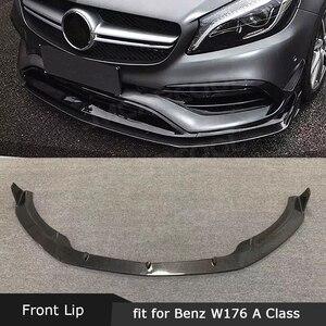 Para W176 Perfil de alerón delantero de fibra de carbono para Benz Clase A A200 A250 A45 AMG 2016-2019 protector de la barbilla estilo de coche