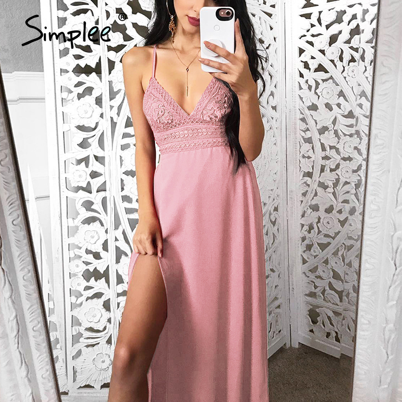 Simplee Sexy strap hollow out lace women dress Fashion lacer backless summer dress women Casual side split elastic long dress