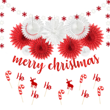 лучшая цена Red White Christmas Decorations for Home Glitter Red Merry Christmas Banner Snowflake Tissue Paper Fans Garland Cupcake Toppers