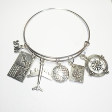 XKXLHJ 2019 Travel Bracelet, Globe and Airplane Flight Attendants Gift Handmade Traveler Jewelry