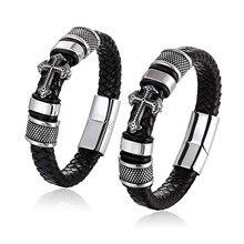 Bracelet en cuir véritable pour homme, style Punk, avec fermoir magnétique, haute qualité, cadeau de fête des pères, grosse réduction