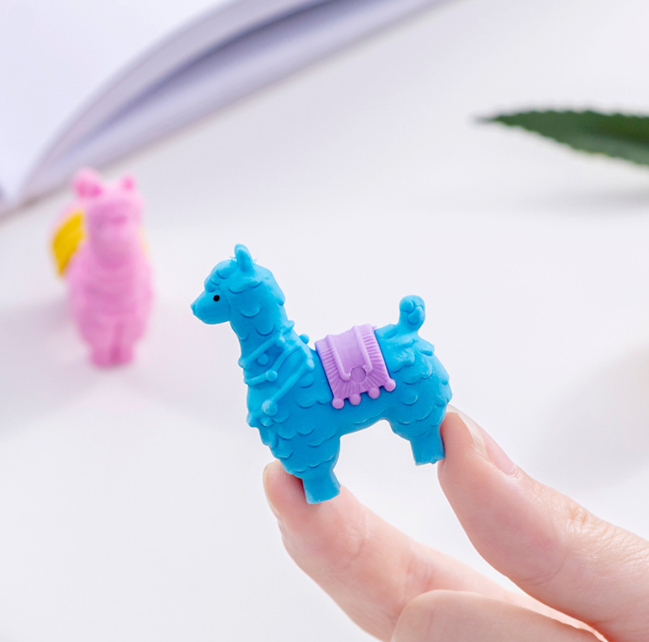 2pcs Lama Sheep Cute Rubber Pencil Eraser Stationary School Supplies Items Kawaii Office Cartoon Kids Gift Students Prizes