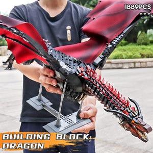 MOC Die Viserion Drachen Modell Bausteine 1691PCS Film Modell Kits Figuren Bildungs Montiert Weihnachten Spielzeug Geschenk