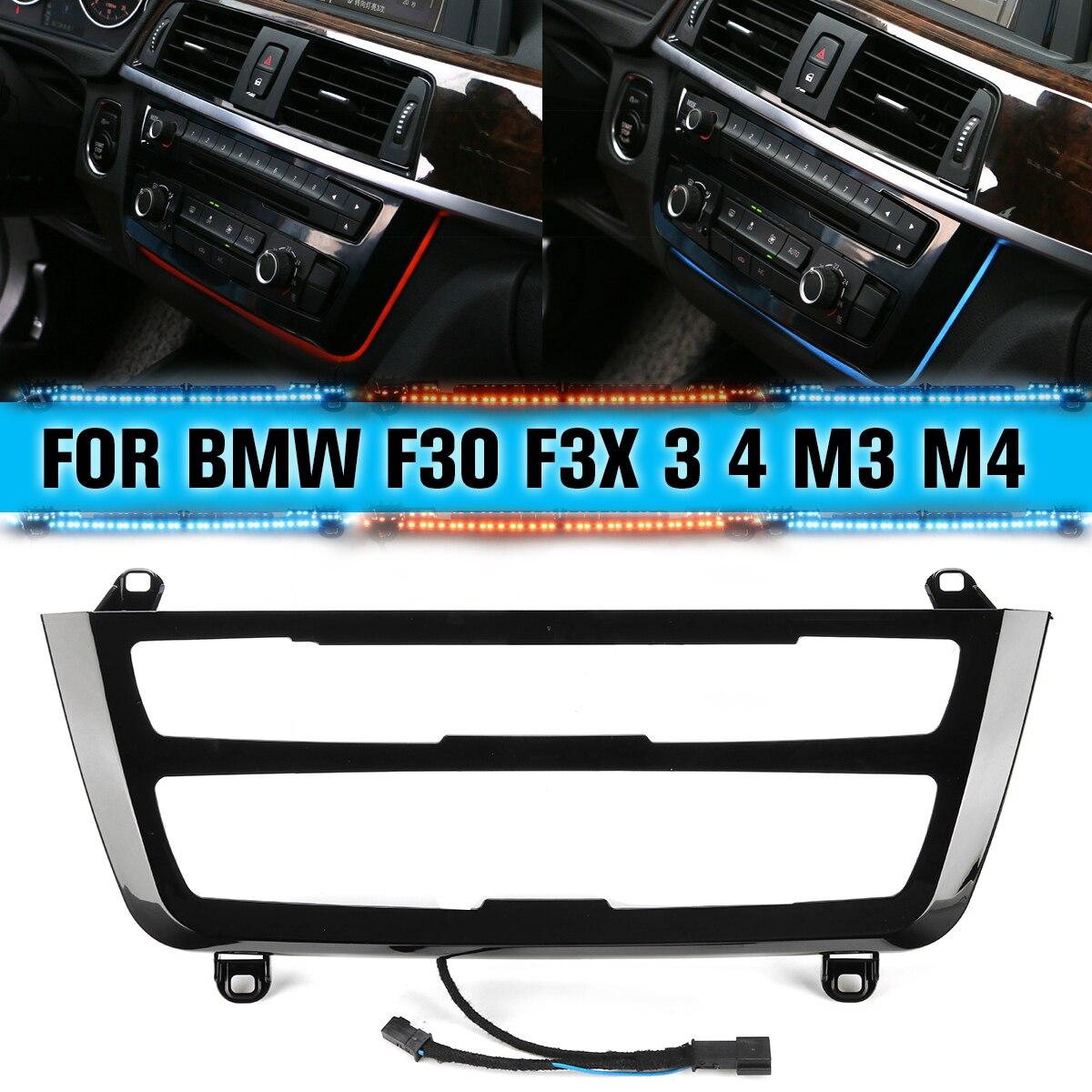 Для BMW 3 и 4 серии F30 M3 M4 LCI радио отделка LED приборная панель центральная консоль AC панель светильник синий оранжевый 2 цвета атмосферный свети