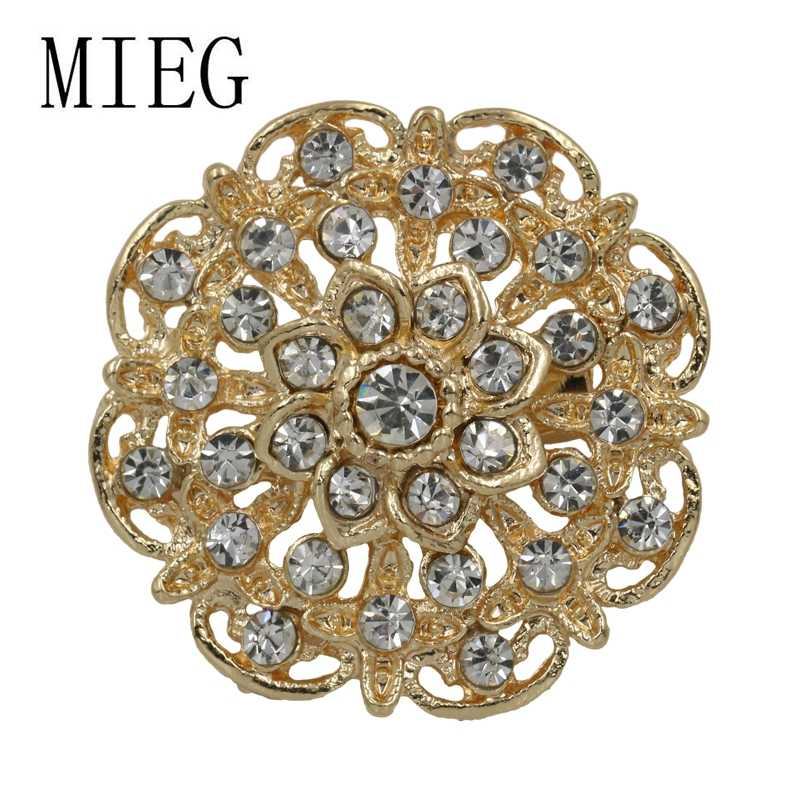 MIEG Merk Gold Plated Clear Crystal Bloem Broche Pins Bouquet Wedding Party Sieraden Accessoires
