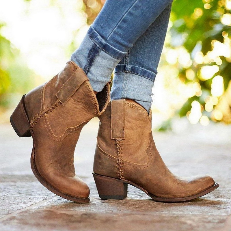 Oeak Women Autumn <font><b>Boots</b></font> <font><b>Ankle</b></font> <font><b>Boots</b></font> Shoes Slip On Pointed Toe <font><b>Boots</b></font> Women <font><b>Block</b></font> Mid <font><b>Heels</b></font> Casual Botas Mujer Booties Feminina image