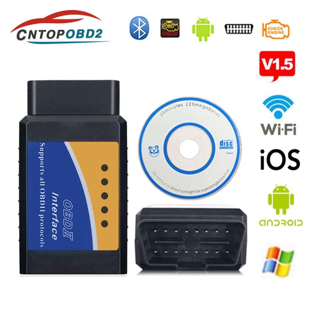 OBD2 ELM327 Wifi V1 5 OBDII Auto Scanner ELM 327 Bluetooth WiFi V1 5 OBD 2  Car Diagnostic Tool For Android IOS PC Code Reader