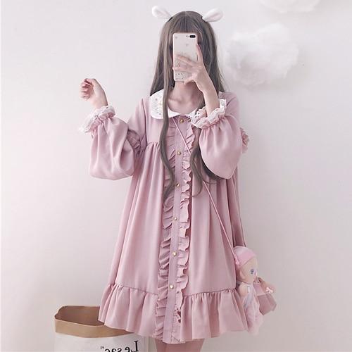 Woherb 2021 Summer Dress Women Harajuku Pink Ladies Ruffle Lace Patch Kawaii Dresses Lolita Cosplay Sweet Loose Vestidos 21092 7