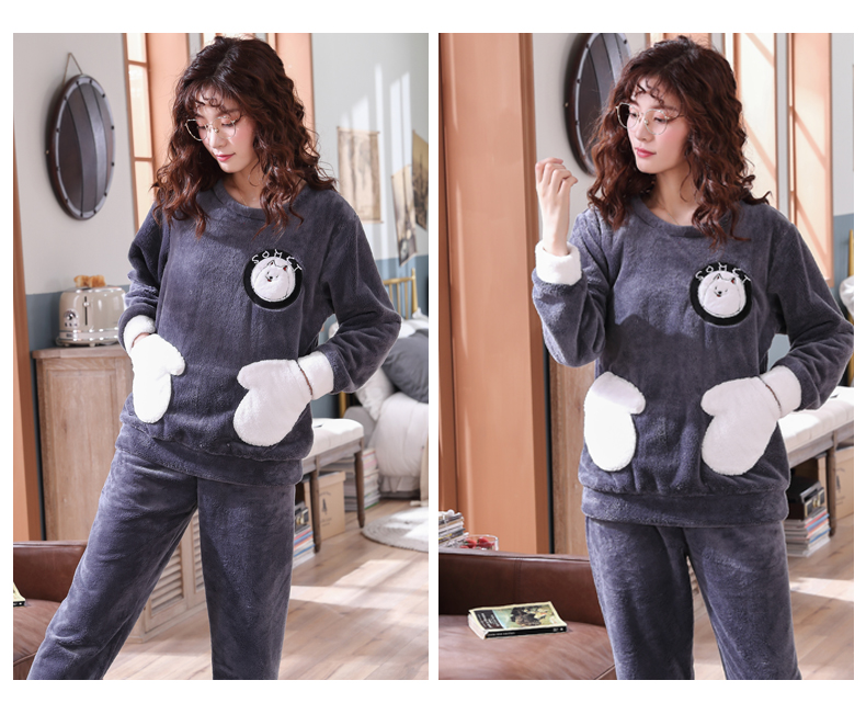 Long Sleeve Warm Flannel Pajamas Winter Women Pajama Sets Print Thicken Sleepwear Pyjamas Plus Size 3XL 4XL 5XL 85kg Nightwear 332