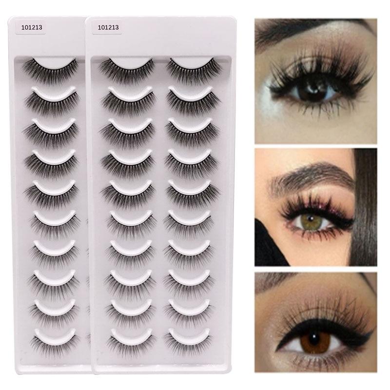 Thick False Eyelashes Messy Cross Thick Natural Fake Eye Lashes Professional Makeup Tips Bigeye Makeup Tool Long False EyeLashes