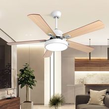 Remote Control LED Modern Simple Creativity 52 Inch Bedroom Ceiling Fan Light 220V Mute Three Color Changing Fan Hanging Lamp