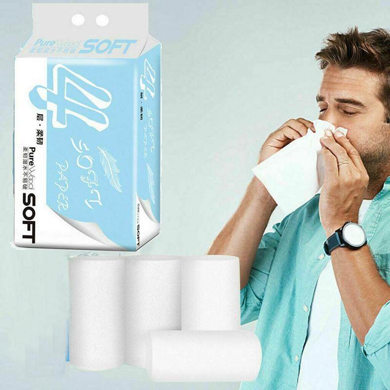 6/12/18/24 Rolls Toilet Paper Bulk Bath Tissue Bathroom White Soft 4 Ply Household Office J55