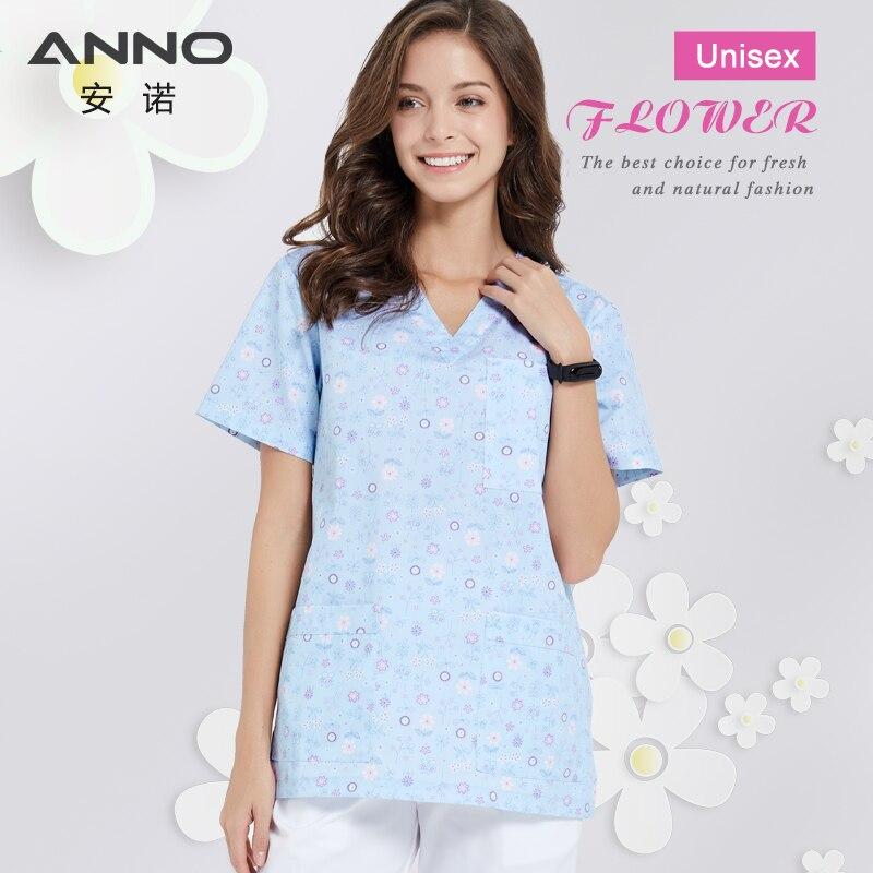 ANNO Medical Scrubs Set Nursing Uniforms Cartoon Cat Veterinary Clothing Dental Clinic Nurse Costume Women Men Surgical Suit