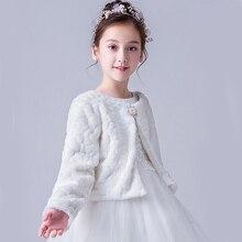Czerwony biały dzieci dziewczyna kurtka ze sztucznego futra płaszcz ślubny dla komunii sukienka kwiat dziewczyna futro Bolero Cape kurtka zimowa płaszcz