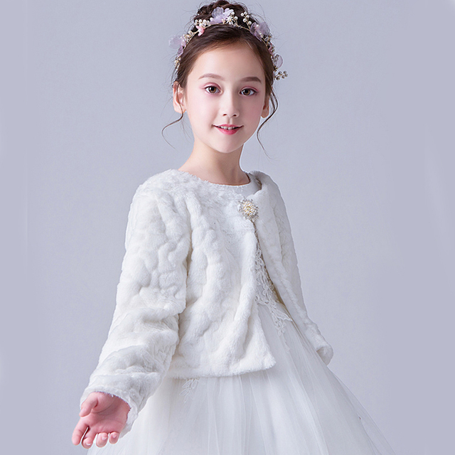 สีแดงสีขาวเด็ก Faux FUR JACKET เสื้อคลุมงานแต่งงานสำหรับชุดแต่งงานดอกไม้ Bolero Cape ฤดูหนาวแจ็คเก็ต Coat