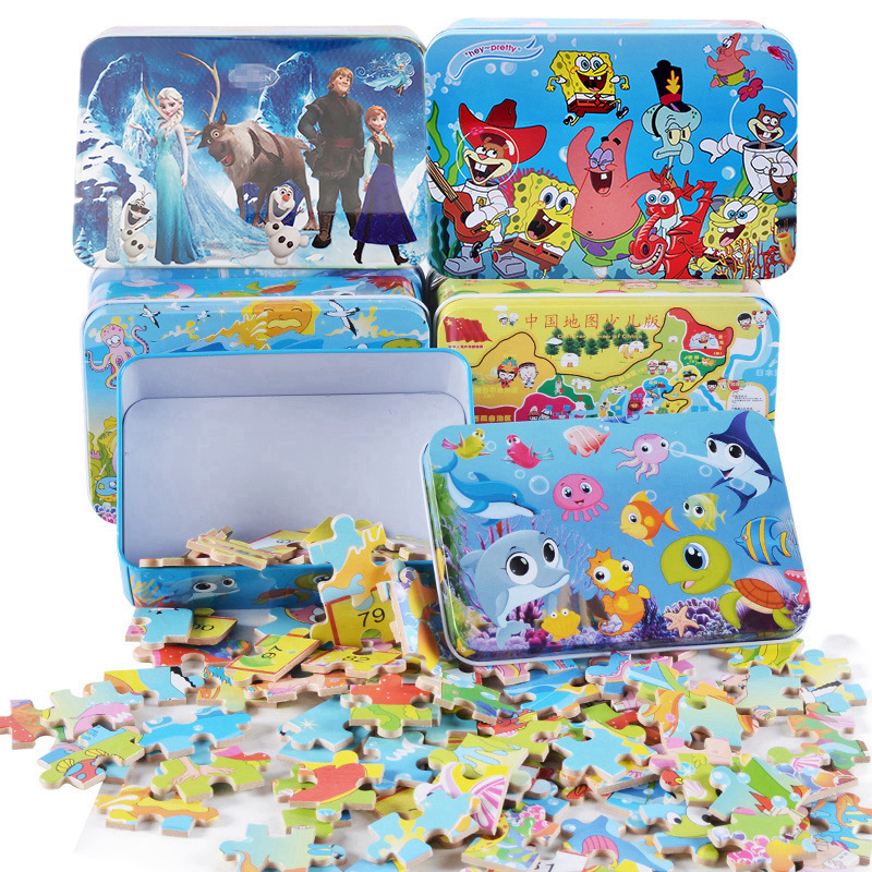 Non-toxic 100pcs/set Wood Jigsaw Puzzle Toy For Children Kids Early Educational Cartoon Puzzle Toy (with Iron Box) Boy Girl Gift
