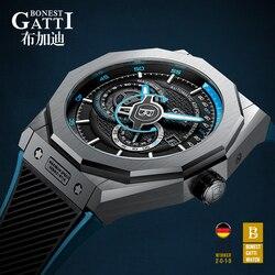 Автоматические механические часы для мужчин Лидирующий бренд GATTI роскошные кожаные мужские наручные часы водонепроницаемые спортивные си...