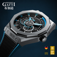 Automatic Mechanical Watch Men Top Brand GATTI Luxury Leather Mens Wristwatches Waterproof Sports Blue Watches Relogio Masculino