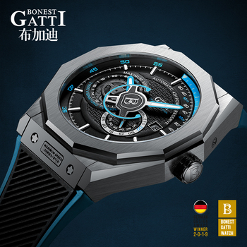 цена на Automatic Mechanical Watch Men Top Brand GATTI Luxury Leather Mens Wristwatches Waterproof Sports Blue Watches Relogio Masculino