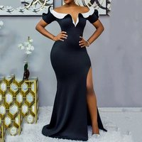 Sexy Slash Neck Women Long Dress Summer 2019 Black Split Female African Dresses Robe Party Christmas Maxi Dress Vestiods Femme