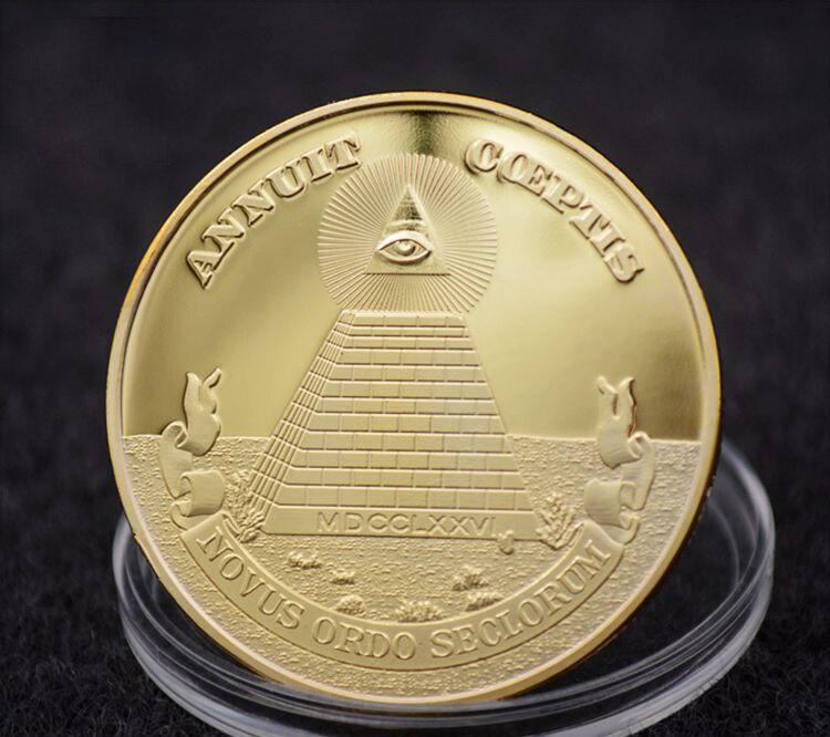 Монета Freemason, масонские монеты с всевидным глазом, золотая монета доллара США с пирамидой, масонская коллекция монет