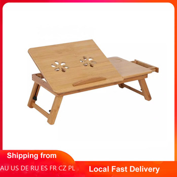 Adjustable Bamboo Rack Shelf Dormitory Bed Lap Desk Two Flowers Book Reading Tray Stand 1