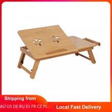 Étagère en bambou réglable pour lit et dortoir, pour bureau, plateau de lecture pour livre, avec deux fleurs