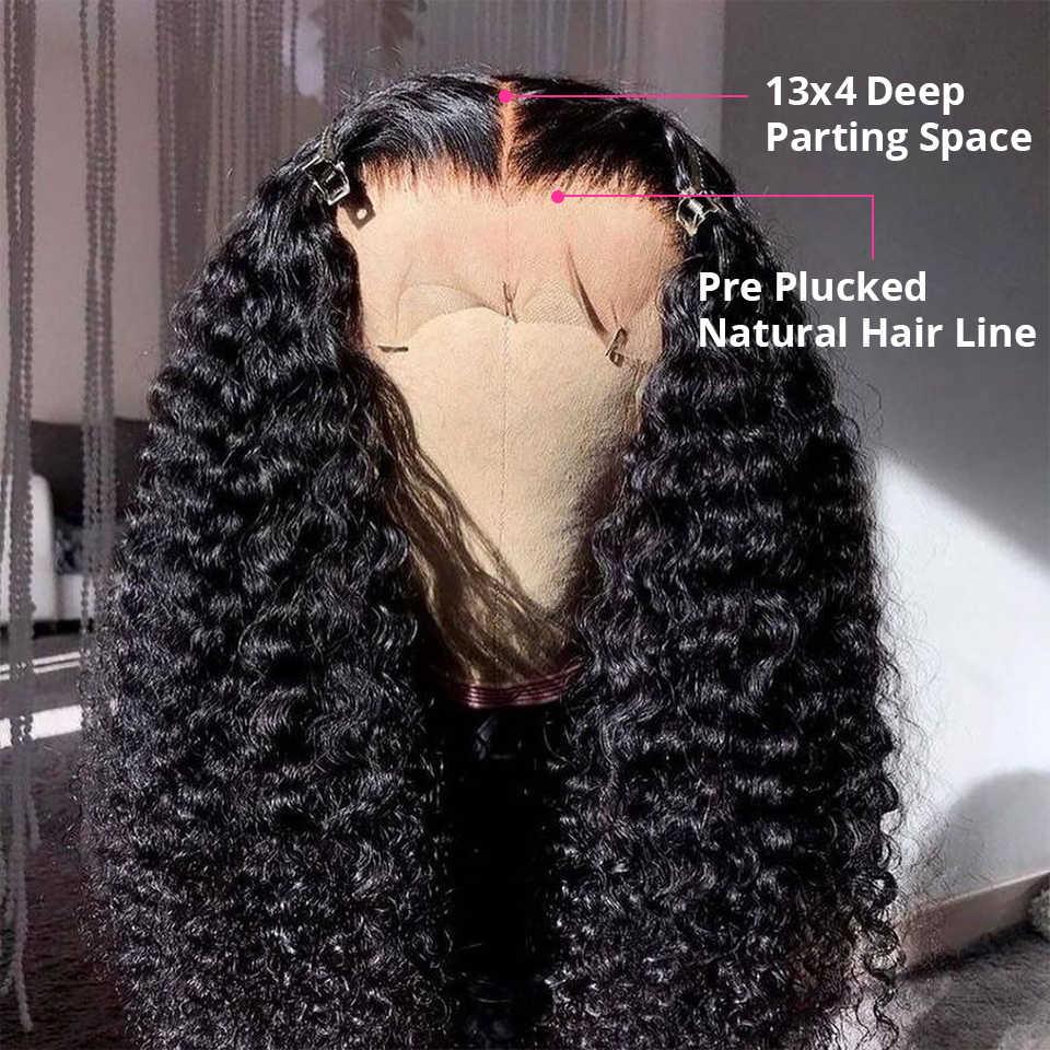 Braziliaanse Krullend Menselijk Haar Pruiken Afro Kinky Krullend Lace Front Menselijk Haar Pruiken Voor Zwarte Vrouwen Pre Geplukt Diepe Golf pruik Lijmloze