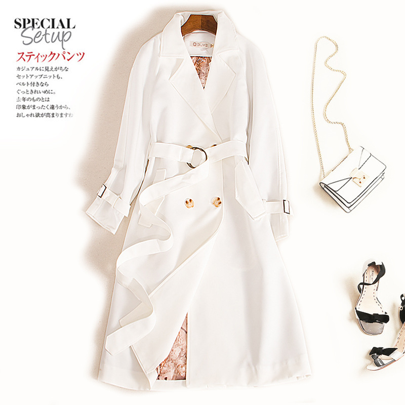 2019 Woman Autumn White Double-breasted Trench Coat British Style High Quality Chic Chalaza Long Loose Coat XS-4XL