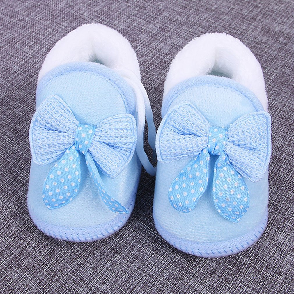 Newborn Unisex Baby Plush 0-12 Months Toddler Shoes Infant Sole Shoes Warm Winter Soft Bottom Non-slip Lace-up Shoes
