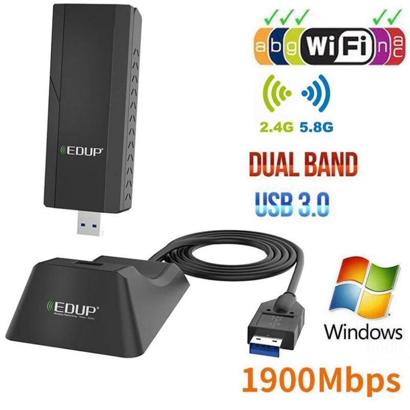 USB 3.0 1900Mbps Wifi adaptateur double bande 5GHz 2.4Ghz 802.11AC avec 1m étendre le câble Wifi Dongle carte réseau pour ordinateur portable de bureau