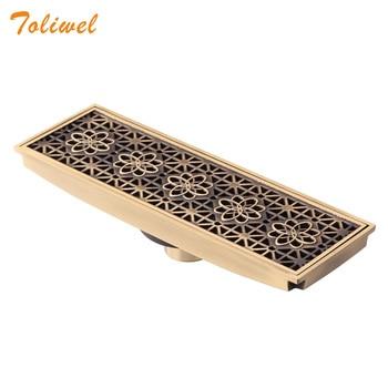 цена на 30 X 10 Rectangle Bathroom Drainer Linear Shower Floor Drain Trap Waste Grate Strainer Antique Brass Flower Carved
