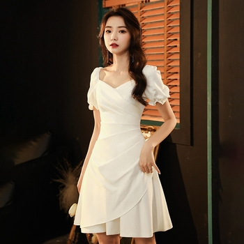 Prom Dresses  Knee-Length  A-Line  Pleat  Cocktail Dresses Satin Dresses Woman Party Night 1