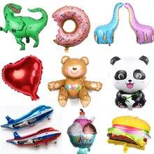 Большие размеры 3D Медведь Панда динозавр пончик мультфильм животных вечерние игрушки Воздушные шары ленты фольги воздушные шары день рождения игрушки для Childre